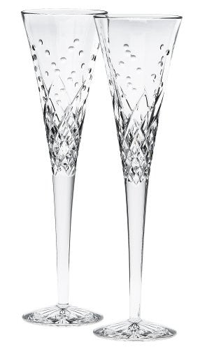 "Waterford WATERFORD WISHES ""HAPPY CELEBRATIONS"" TOASTING FLUTES, PAIR"