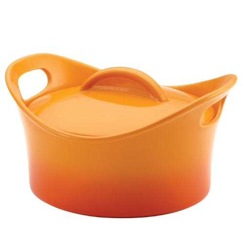 Rachael Ray Stoneware 2-3/4-Quart Covered Bubble and Brown Casserround Casser...
