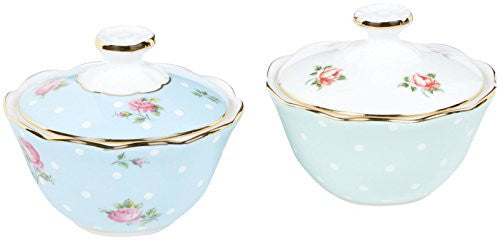 Royal Albert NEW COUNTRY ROSES TEA PARTY CONDIMENT POTS 2.9OZ SET/2 MIXED PATTERNS