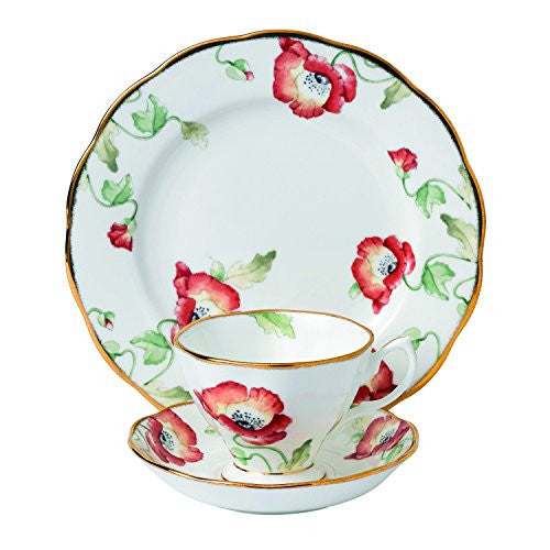 "Royal Albert 100 YEARS 1970 3-PIECE TEACUP, SAUCER & PLATE 8"" SET POPPY"