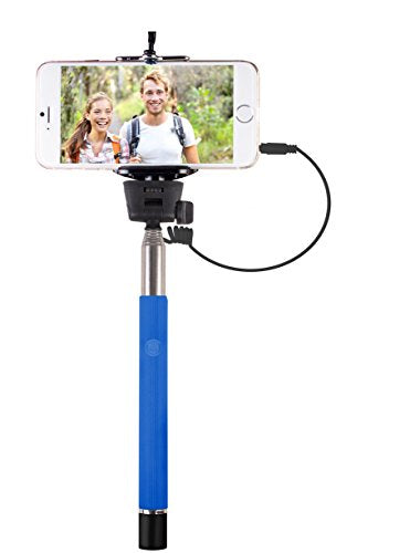 Vivitar VIV-TR-365-BLU Smartphone Selfie Wand with Built-In Shutter Release (Blue)