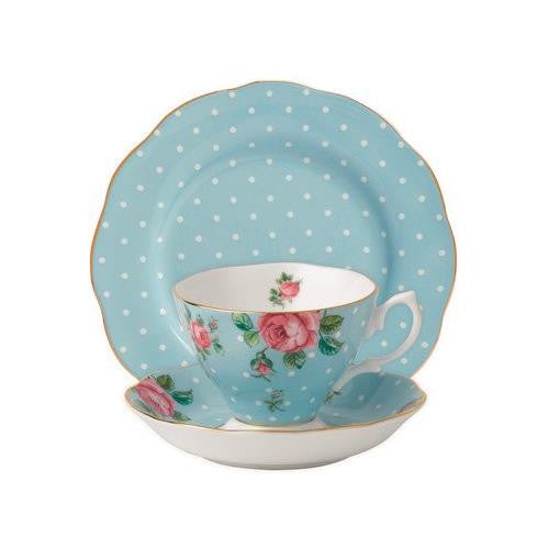 Royal Albert POLKA BLUE 3-PIECE SET (TEACUP, SAUCER & PLATE)