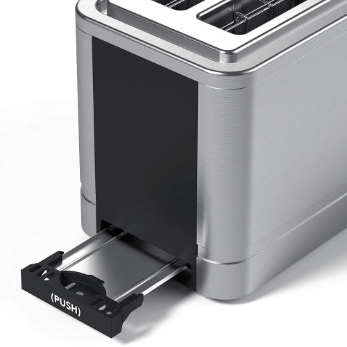 Vremi Toaster 2 Slice Stainless Steel - Retro Toaster for Bagels with Wide Slots for Large Slice Bread and Temp Control - Cool Silver and Black Toaster with Pop Up Reheat Defrost Removable Crumb Tray