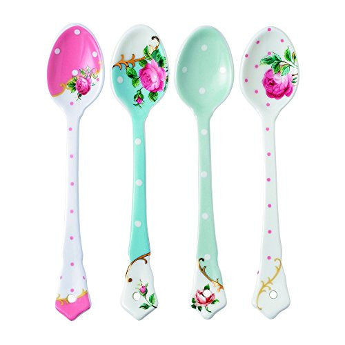 Royal Albert NEW COUNTRY ROSES TEA PARTY CERAMIC SPOONS SET/4 MIXED PATTERNS