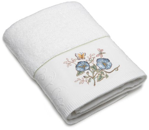 Lenox® Butterfly Meadow(TM) Embroidered Bath Towel, Blue Flower