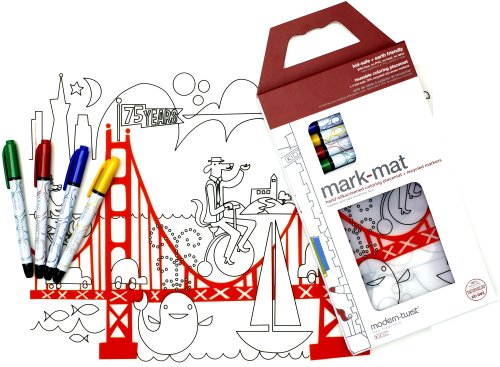modern-twist Kids Mark-Mat Silicone Coloring Placemat with 4 Dry-Erase Marker...
