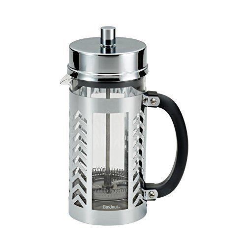 BonJour Coffee 8-Cup Chevron French Press, Stainless Steel