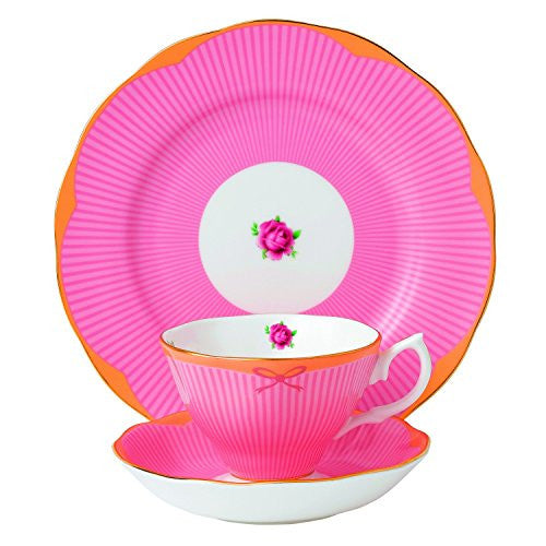 "Royal Albert CANDY 3-PIECE SET - TEACUP, SAUCER & PLATE 8"" SWEET STRIPE"