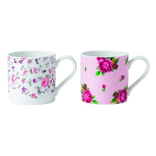 Royal Albert NEW COUNTRY ROSES TEA PARTY MUGS SET/2 ROSE CONFETTI & NCR PINK