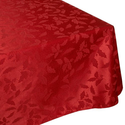 Lenox Holly Damask Tablecloth, 60 By 140 Inch Oblong/Rectangle, Red