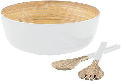 DKNY Boerum 3-pc Lacquered Round Salad Bowl Set w/ Servers, White