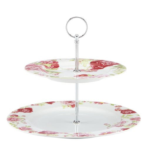 Gorham Kathy Ireland Home Blossoming Rose Two-Tiered Server Tray