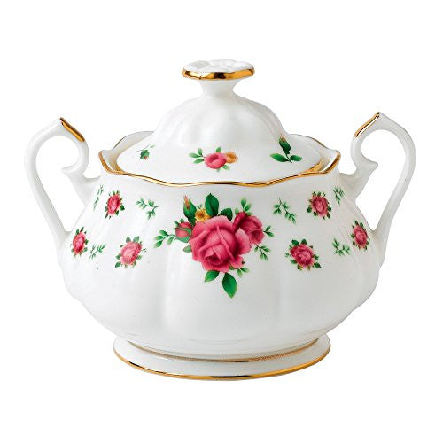 Royal Albert NEW COUNTRY ROSES WHITE COVERED SUGAR 11.8 OZ.