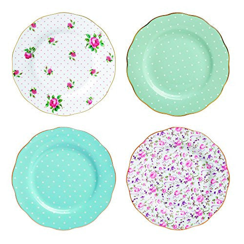 "Royal Albert NEW COUNTRY ROSES TEA PARTY ACCENT PLATES 8"" SET/4 MIXED PATTERNS"