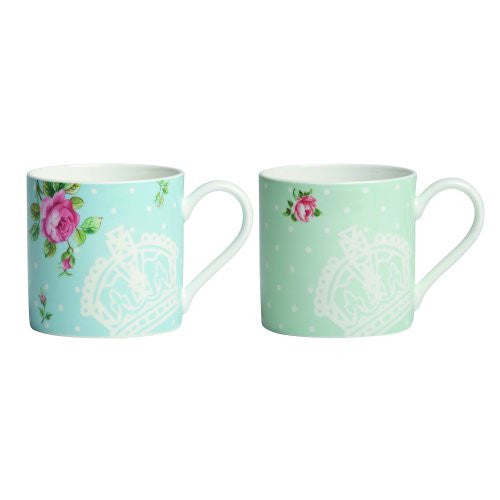 Royal Albert NEW COUNTRY ROSES TEA PARTY MUGS SET/2 POLKA ROSE & POLKA BLUE