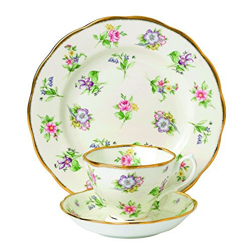 "Royal Albert 100 YEARS 1920 3-PIECE TEACUP, SAUCER & PLATE 8"" SET SPRING MEADOW"