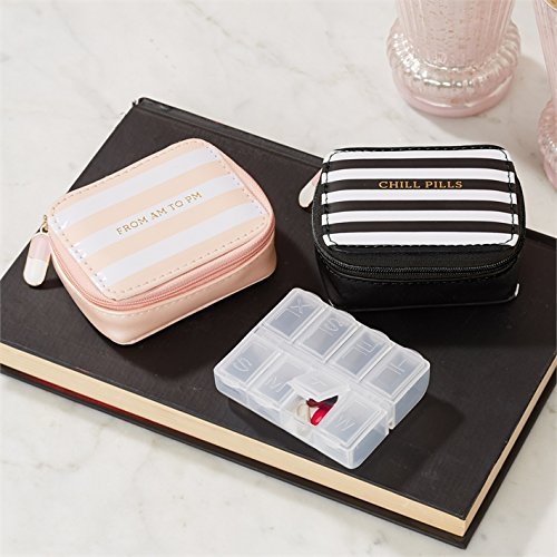 Two's Company Chill Pills Vitamin/Pill Organizer in Zippered Case with Pill Charm (Pink-From AM to PM)
