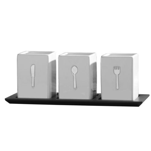 Towle Living 3-Piece Ceramic Caddy on Wood Tray