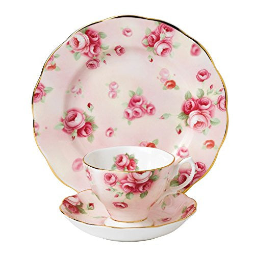 "Royal Albert 100 YEARS 1980 3-PIECE TEACUP,SAUCER & PLATE 8"" SET ROSE BLUSH"