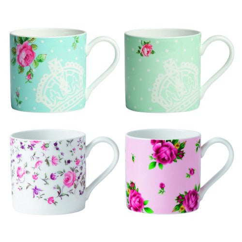 Royal Albert NEW COUNTRY ROSES TEA PARTY MUGS SET/4 MIXED PATTERNS