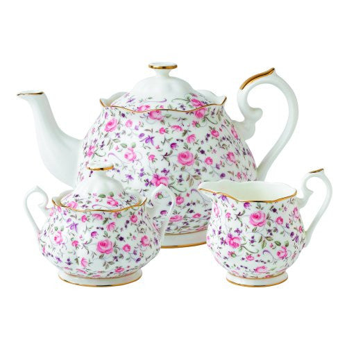 Royal Albert ROSE CONFETTI 3-PIECE SET (TEAPOT, SUGAR & CREAMER)
