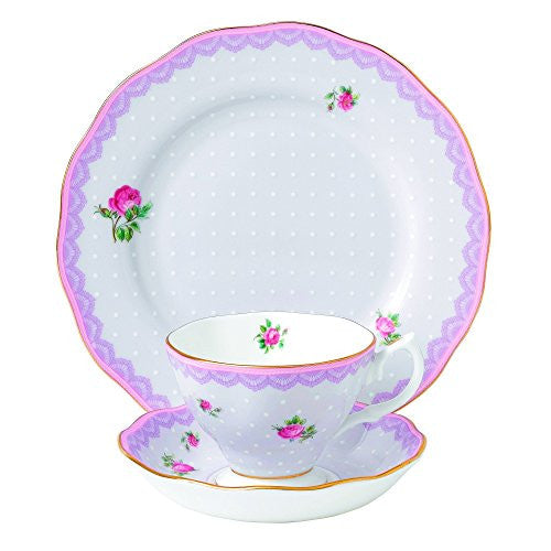 "Royal Albert CANDY 3-PIECE SET - TEACUP, SAUCER & PLATE 8"" LOVE LILAC"