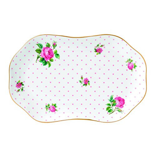 "Royal Albert NEW COUNTRY ROSES TEA PARTY TRAY 8.1"" PINK ROSES"