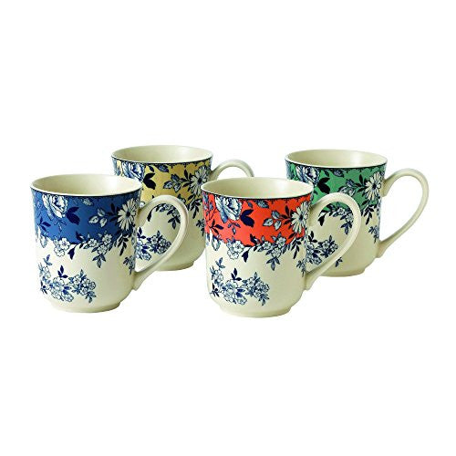 Wedgwood DEVON COTTAGE ACCENT MUG SET/4 BLUE/YELLOW/RED/GREEN