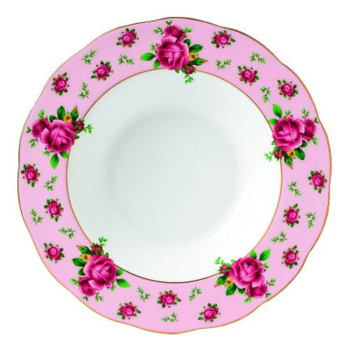 Royal Albert NEW COUNTRY ROSES PINK RIMMED SOUP/SALAD BOWL 9.4""