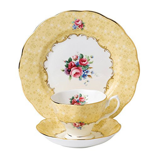 "Royal Albert 100 YEARS 1990 3-PIECE TEACUP, SAUCER & PLATE 8"" SET BOUQUET"