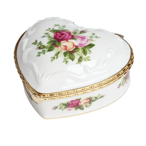 "Royal Albert OLD COUNTRY ROSES HEART JEWELRY BOX MUSICAL 4""  (IF YOU LOVE ME)"