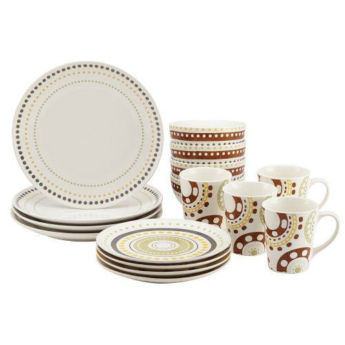 Rachael Ray Dinnerware Circles and Dots Collection 16-Piece Set