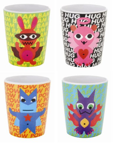 French Bull 6-Ounce Melamine Juice Cup, Superhero Kids, Set of 4