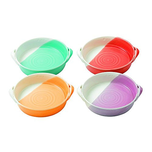 "1815 MIXED PATTERNS MINI SERVING DISHES 7.2"" SET/4 BRIGHT COLORS"