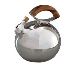 Nambe Bulbo Kettle, Stainless Steel and Wood