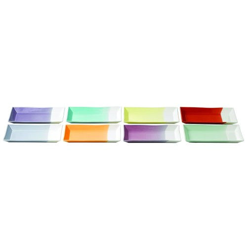 "1815 TAPAS RECTANGULAR TRAYS 9.8"" SET/8 MIXED PATTERNS"