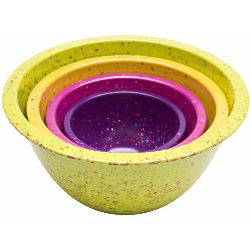 Zak Designs 4-Piece Assorted Confetti Nested Bowls Set, Flora Design