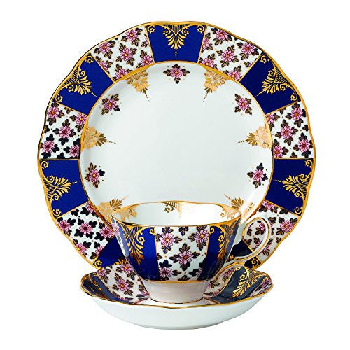 "Royal Albert 100 YEARS 1900 3-PIECE TEACUP, SAUCER & PLATE 8"" SET REGENCY BLUE"