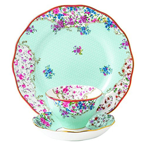 "Royal Albert CANDY 3-PIECE SET - TEACUP, SAUCER & PLATE 8"" SITTING PRETTY"
