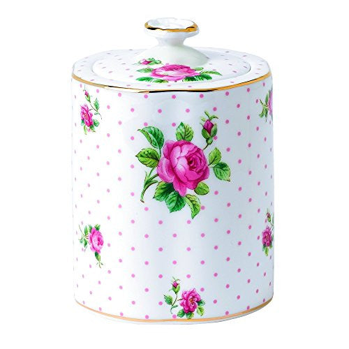 "Royal Albert NEW COUNTRY ROSES TEA PARTY TEA CADDY 4.4"" PINK ROSES"
