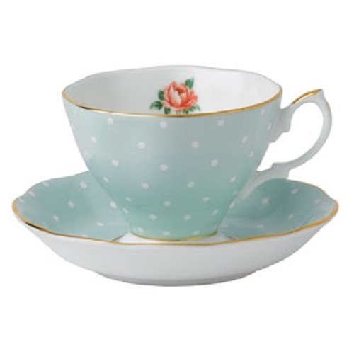 Royal Albert POLKA ROSE TEACUP & SAUCER SET