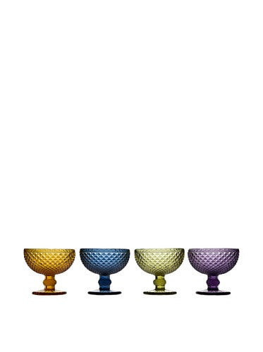 Godinger Belmont 10 oz. Dessert Bowls - Set of 4 Assorted Colors