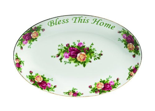 Royal Albert OLD COUNTRY ROSES BLESS THIS HOME PLATTER, 12""