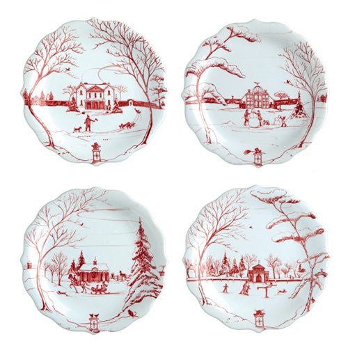 Juliska Country Estate Party Plates Ruby Set