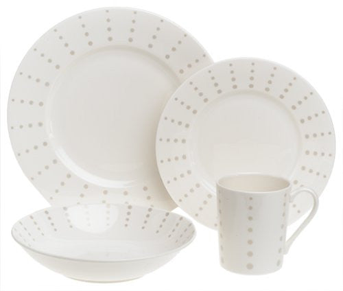 Mikasa Cheers Contemporary China 16-Piece Dinnerware Set, Service for 4