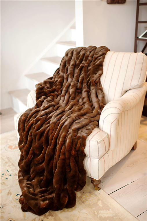 Mahogany Couture Faux Mink Throw 60x72