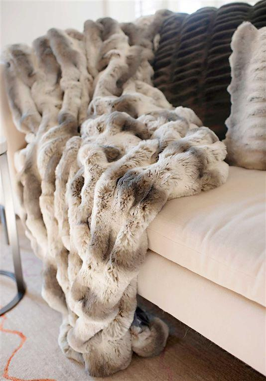Truffle Faux Chinchilla Couture Throw 60x72