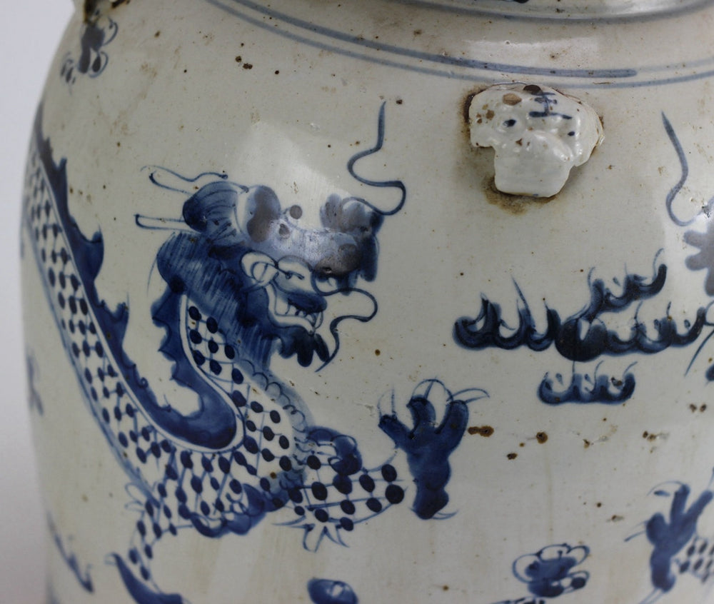 "Temple Jar Dragon Motif 24""h"