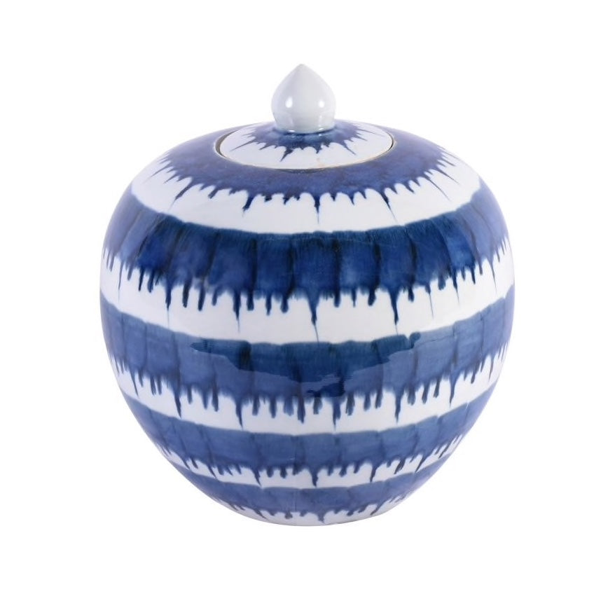 Blue and White Drop Melon Jar