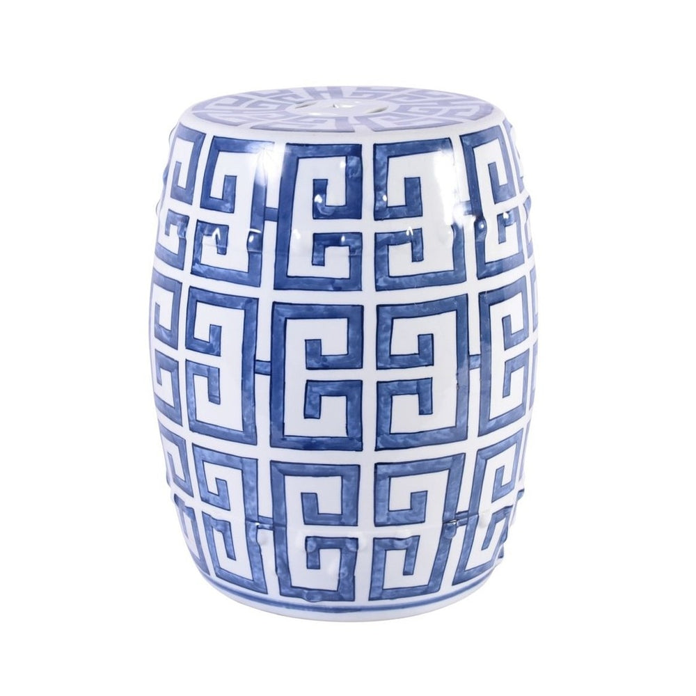 Blue and White Greek Key Garden Stool